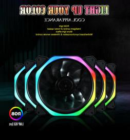 3-Pack LED Cooling Fan 120mm 12V RGB Remote Control For Comp