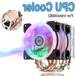 CPU Cooler 4 Heatpipes 4 Pin LED RGB Fans 90mm For LGA 775/1