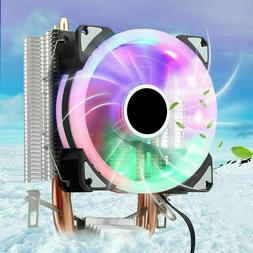 CPU Cooler W/ LED RGB Fan 2 Pipe 3 Pin For Intel AMD LGA 775