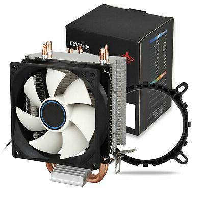 90mm Quiet CPU Dual Copper Pipe Cooler Fan for LGA 1156/1155