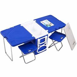 Multi Function Rolling Cooler With Table And 2 Chairs Picnic