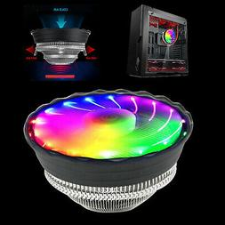 RGB Color CPU Cooler LED Air Heatsink Intel AMD PC Processor