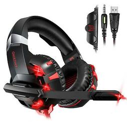 3.5mm Gaming Headset Mic LED Headphone Stereo Surround for P