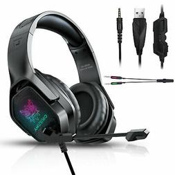 RGB LED Gaming Headset Headphone w/Noise Reduction Mic for P